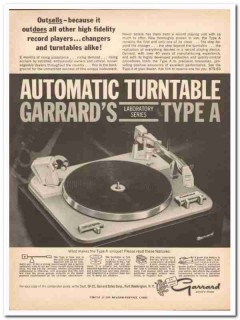 garrard sales corp 1961 outsells type-a automatic turntable vintage ad