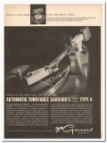 garrard sales corp 1961 pointing type-a automatic turntable vintage ad