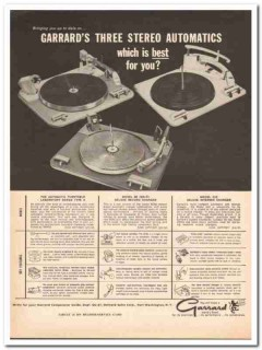 garrard sales corp 1961 three stereo automatic turntables vintage ad