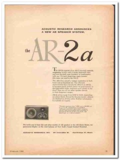 acoustic research inc 1960 announces ar-2a speaker system vintage ad