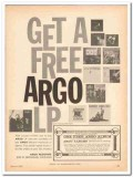 argo records 1960 get free lp jazz album coupon stereo vintage ad