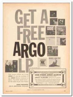 argo records 1960 get free lp jazz album coupon stereo vintage ad