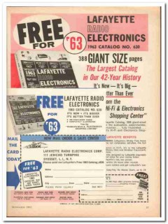 lafayette radio electronics corp 1962 free catalog 630 vintage ad