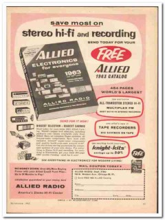 allied radio 1962 stereo hifi recording electronics catalog vintage ad