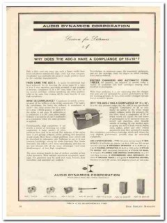 audio dynamics corp 1963 adc-3 compliance stereo cartridge vintage ad