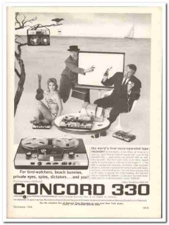 concord electronics corp 1964 330 voice-operated recorder vintage ad