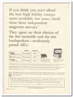 acoustic research inc 1964 survey best turntable speakers vintage ad