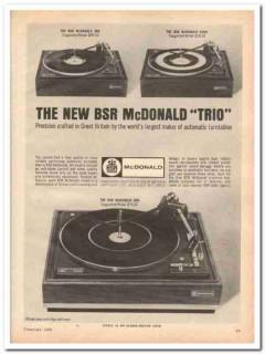 bsr usa ltd 1968 mcdonald trio 400 500 600 turntable stereo vintage ad