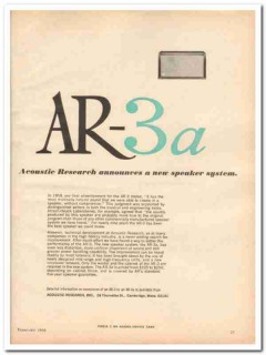acoustic research inc 1968 ar-3a speaker system stereo vintage ad