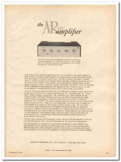 acoustic research inc 1968 ar amplifier power output stereo vintage ad