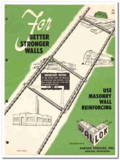 Adrian Peerless Inc 1954 Vintage Catalog Masonry Wall Reinforcing