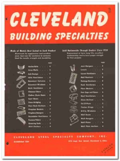 Cleveland Steel Specialty Company 1954 Vintage Catalog Metals Building