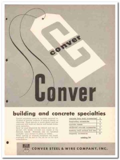 Conver Steel Wire Company 1954 Vintage Catalog Concrete Specialties