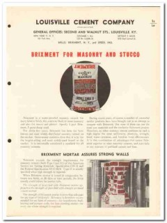 Louisville Cement Company 1954 Vintage Catalog Brixment Masonry Stucco