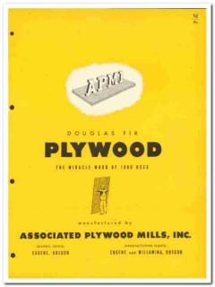 Associated Plywood Mills Inc 1954 Vintage Catalog Wood Douglas Fir