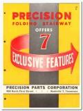Precision Parts Corp 1954 Vintage Catalog Stairway Attic Folding