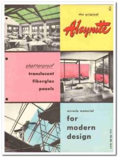 Alsynite Company 1954 Vintage Catalog Roofing Translucent Fiberglas
