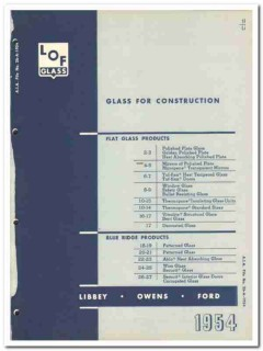 Libbey-Owens-Ford Glass Company 1954 Vintage Catalog Construction