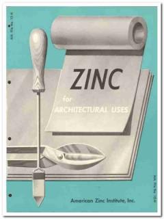 American Zinc Institute Inc 1954 Vintage Catalog Architectural Uses