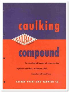 Calbar Paint Varnish Company 1954 Vintage Catalog Asbestos Caulking