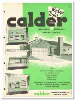 Calder Mfg Company 1954 Vintage Catalog Door Garage Overhead Sectional