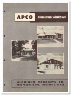Aluminum Products Company 1954 Vintage Catalog Window Residential APCO