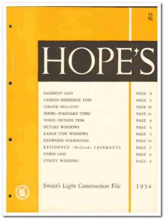 Hopes Windows Inc 1954 Vintage Catalog Holford Casements Residence