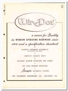 Casement Hardware Company 1954 Vintage Catalog Win-Dor Window Operator