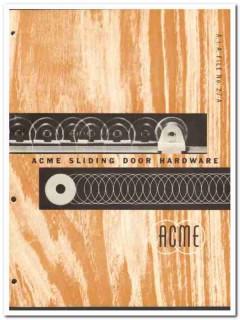 Acme Appliance Mfg Company 1954 Vintage Catalog Sliding Door Hardware