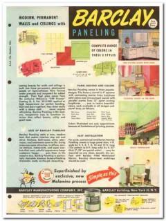 Barclay Mfg Company 1954 Vintage Catalog Wall Panel Barclite Barcwood