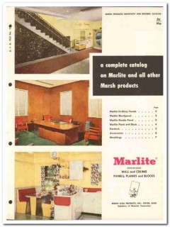 Marsh Wall Products Inc 1954 Vintage Catalog Marlite Korelock Panels