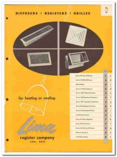 Lima Register Company 1954 Vintage Catalog Heating Diffusers Grilles