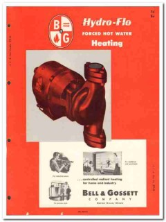 Bell Gossett Company 1954 Vintage Catalog Heating Hydro-Flo Hot Water