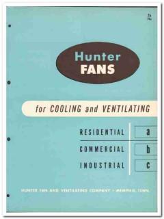 Hunter Fan Ventilating Company 1954 Vintage Catalog Cooling Attic