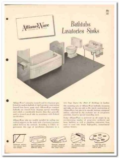 Allianceware Inc 1954 Vintage Catalog Bathroom Bathtub Lavatories Sink