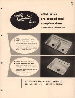 Active Tool Mfg Company 1956 Vintage Catalog Kitchen Enamel Sink