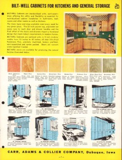 Carr Adams Collier Company 1956 Vintage Catalog Bilt-Well Cabinets