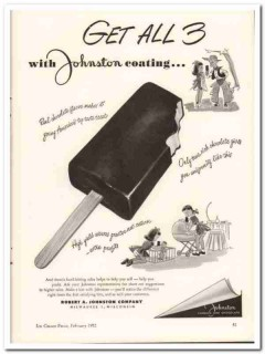 Robert A Johnston Company 1952 Vintage Ad Ice Cream Chocolate Coating