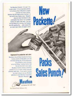 Marathon Corp 1952 Vintage Ad Ice Cream Cartons Linerless Packette