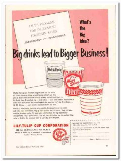 lily-tulip cup corp 1952 big drinks fountain program vintage ad