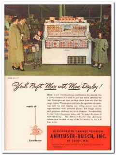 Anheuser-Busch Inc 1952 Vintage Ad Ice Cream Cabinet Profit Display