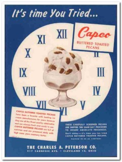 Charles A Peterson Company 1952 Vintage Ad Ice Cream Pecans Capco