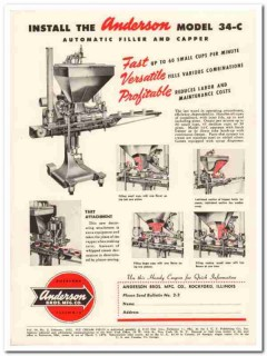 Anderson Bros Mfg Company 1952 Vintage Ad Ice Cream Filler Capper Cups