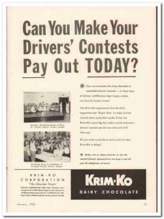 krim-ko corp 1952 drivers contests dairy chocolate vintage ad