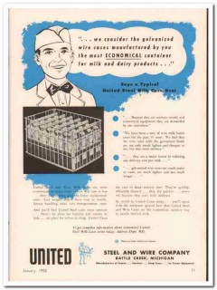 united steel wire company 1952 galvanized milk crates cases vintage ad