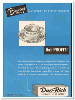 boweys inc 1952 dari-rich hot chocolate flavor supreme vintage ad