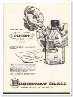 brockway glass company 1952 finest sani-glas bottle medical vintage ad