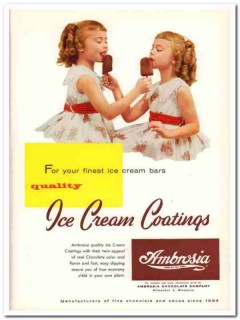 Ambrosia Chocolate Company 1959 Vintage Ad Ice Cream Coatings Quality