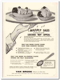 Van Brode Milling Company 1959 Vintage Ad Ice Cream Dishes Buy Appeal