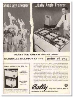 Bally Case Cooler Company 1959 Vintage Ad Ice Cream Angle Freezer Kids